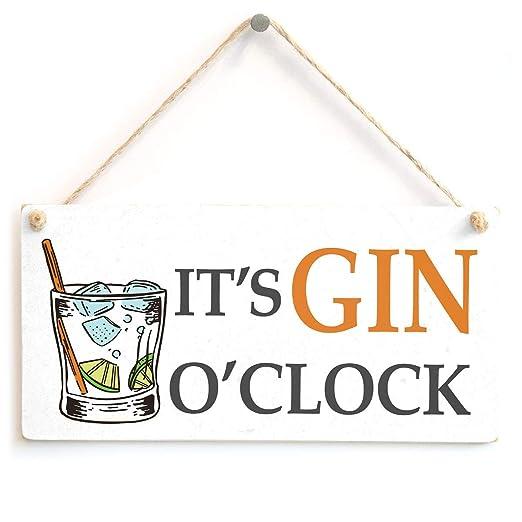 Hunnry Its Gin OClock Letrero de Placa de Madera Carteles ...