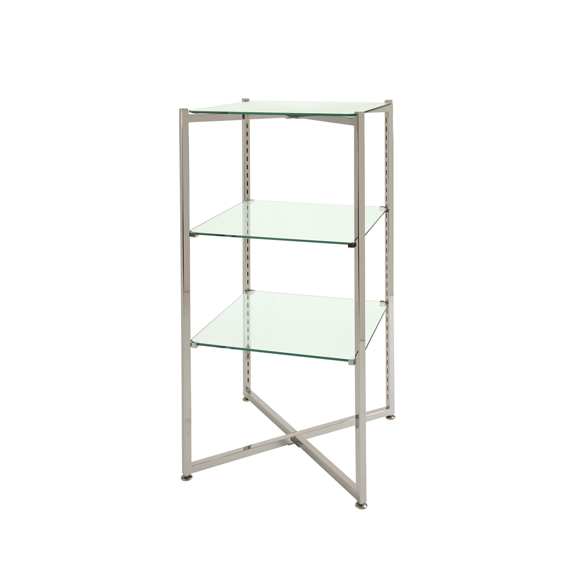Econoco FLT37BCGLS Folding Glass Towers with Brushed Chrome Finish, 37''H x 18'' Square,
