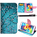 S5 Case, Galaxy S5 Case, iYCK Premium PU Leather Flip Folio Carrying Magnetic Closure Protective Shell Wallet Case Cover for Samsung Galaxy S5 with Kickstand Stand - Plum Blossom