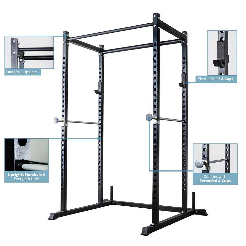 2. Rep Power Rack with Dual Pullup Bars, Numbered Uprights