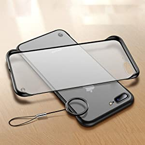 L-FADNUT Case For iPhone 7 Plus Case iPhone 8 Plus Case Frame-Less Matte Hard Plastic Back Cover TPU Shockproof Bumper Slim Thin Translucent Proetctive Phone Case for iPhone 7 Plus iPhone 8 Plus Black