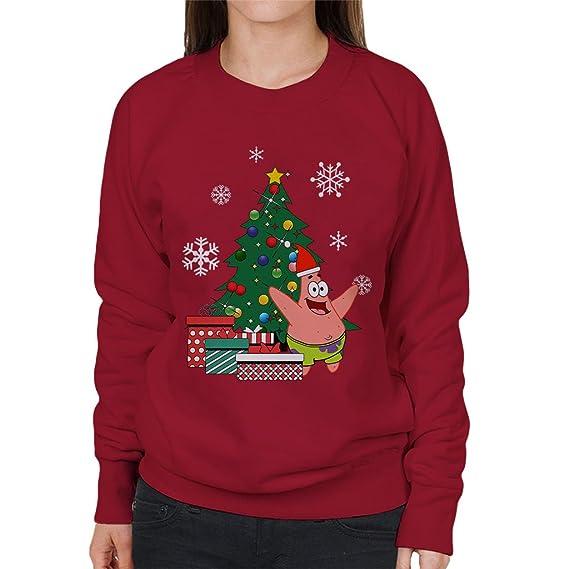 cloud city 7 patrick star around the christmas tree spongebob women s sweatshirt