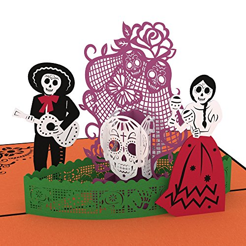 Lovepop Day of the Dead Pop Up Card, Halloween Card, 3D Card, Skeleton Card, Day of the Dead, Greeting Cards, Popup Greeting Cards, Halloween (Card Sleeves Skeleton)