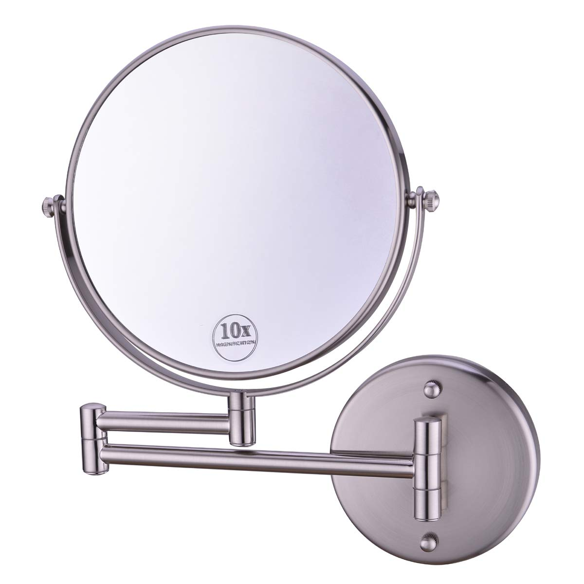 Anpean Wall Mounted Makeup Mirror 10x Magnification with 8 Inch Two Sided Swivel, Brushed Nickel