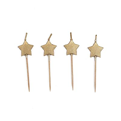 Gold Star Pick Party Candles, 6 Ct.: Toys & Games