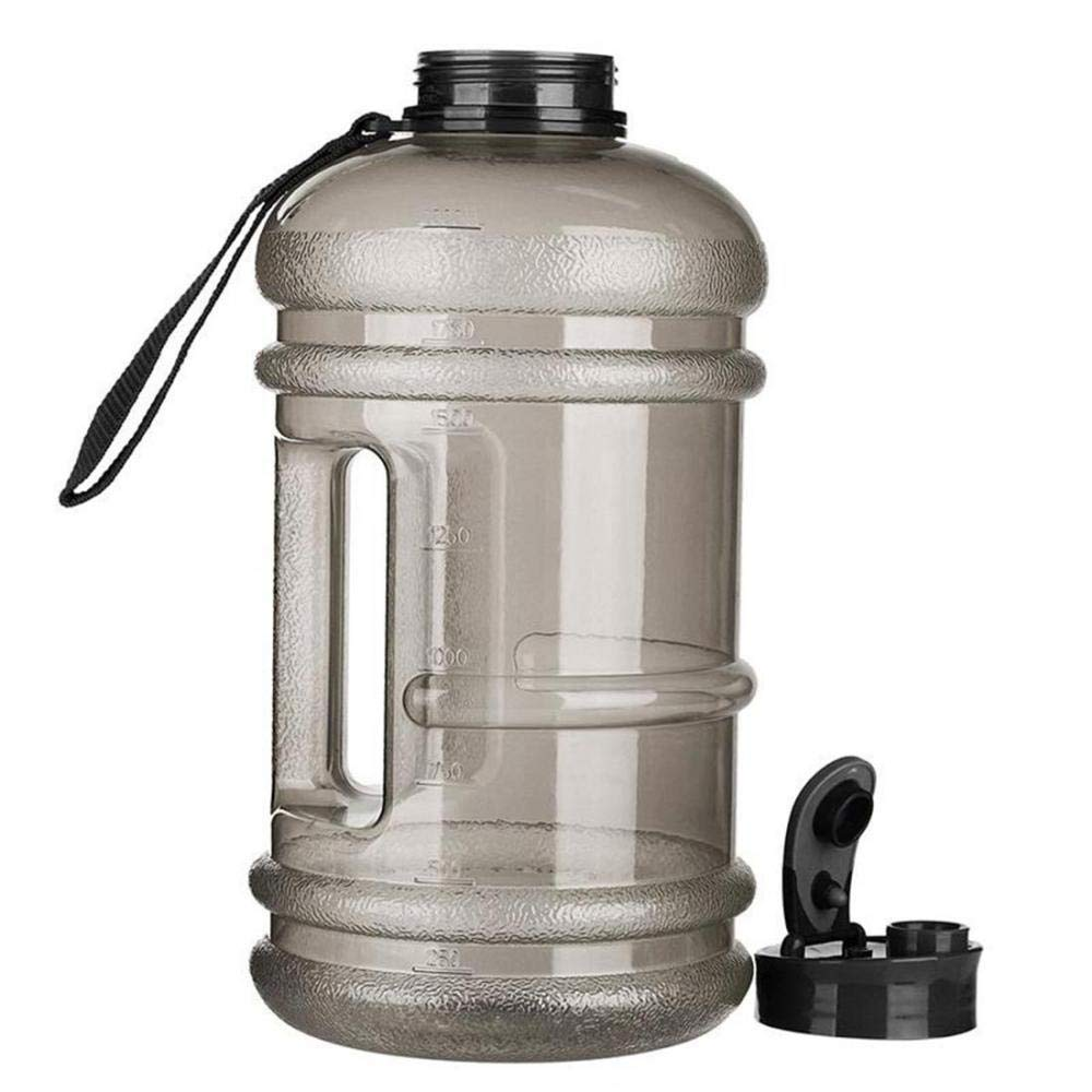 LIRENSHIGE Botella de agua deportiva, sin BPA, a prueba de fugas, reutilizable, botella de agua grande para correr, ciclismo, gimnasio, yoga, al aire libre, camping, 2 l, color negro, tamaño talla única, 1.06, 10.63 x 5.12 x 1.77inches