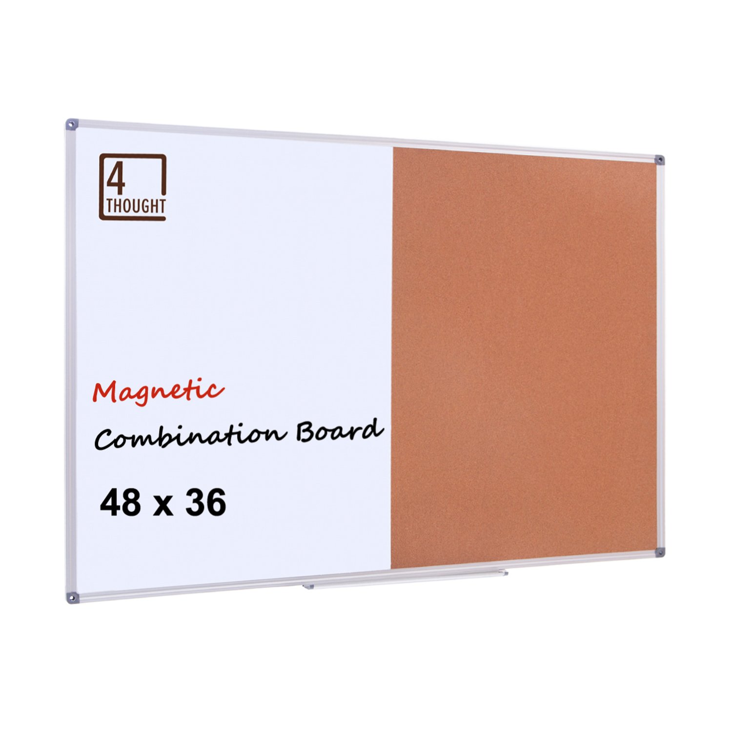 4 THOUGHT Magnetic Dry Erase and Cork Bulletin Board Combination, 48'' X 36'' Magnetic Whiteboard & Cork Board Combo with Aluminum Frame, 10 Push Pins and Marker Tray Included