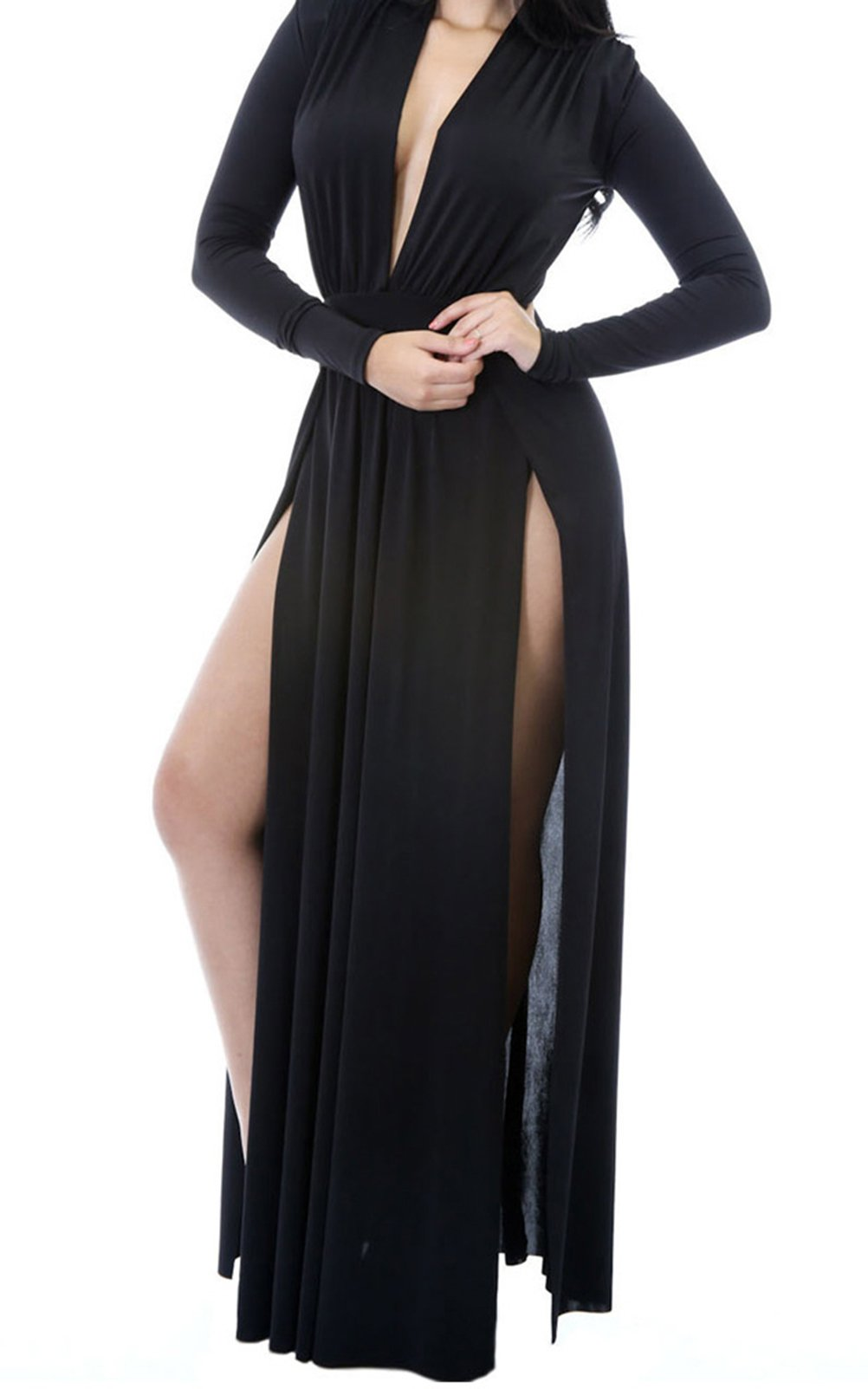 BYY Super Classy Long Sleeves Double Slit Long Maxi Dress(Black,L) by BYY