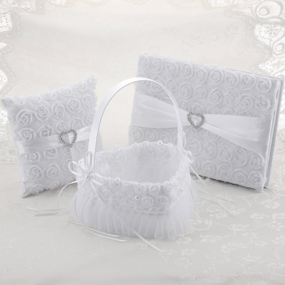 LONGBLE Satin Petal Wedding Flower Girl Basket + Ring Bearer Pillow + Guset Book Elegant Rose Flowers Decor Set White Wedding Ceremony Favors 3Pcs/Set (Heart Shape Basket)
