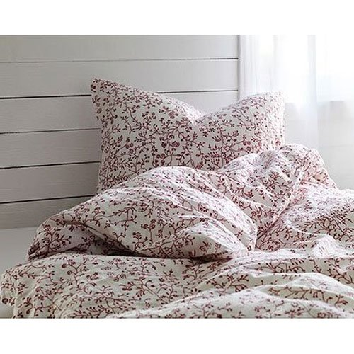 Amazon.com: 100% Cotton French Country Style Duvet Cover Set Full/queen Red  Floral Patterns on White Background
