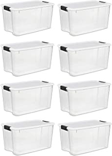 product image for STERILITE 70 Quart/66 Liter Ultra Latch Box, Clear with a White Lid and Black Latches, 8 Containers