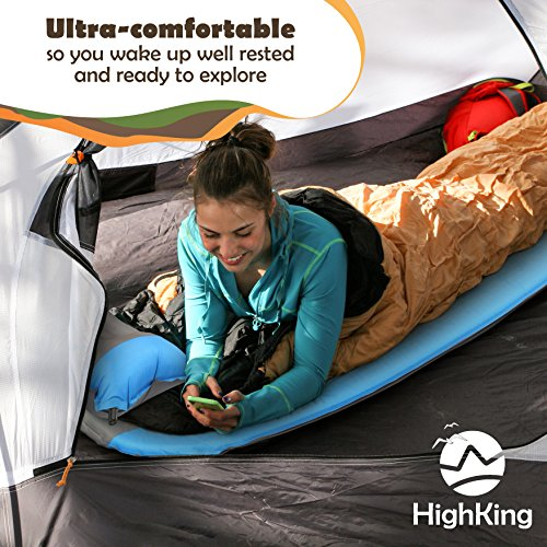 Self Inflating Sleeping Pad Inflatable Sleeping Mat Perfect for Outdoor Adventures, Backpacking, Camping Comfortable Ultralight Sleeping Pad Mattress with Carrying Bag Bonus Pillow by HighKing