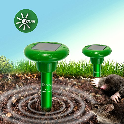 Redeo 2 Pack Solar Mole Repellent Sonic Spike Gopher Repeller Vole Chaser Pest Deterrent Pest Control-Effective Humane Rodent Repellent