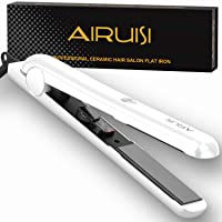 AIRUISI Ceramic Flat Iron For Hair, Professional Hair Straightener,Pearlescent White,140°F~450°F Adjustable for All Hair Types, Safety Lock & Dual Voltage Perfect for Travel, 1 inch Ceramic Plates