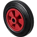 160mm negro rueda de goma con plástico de color rojo centro rueda de carretilla