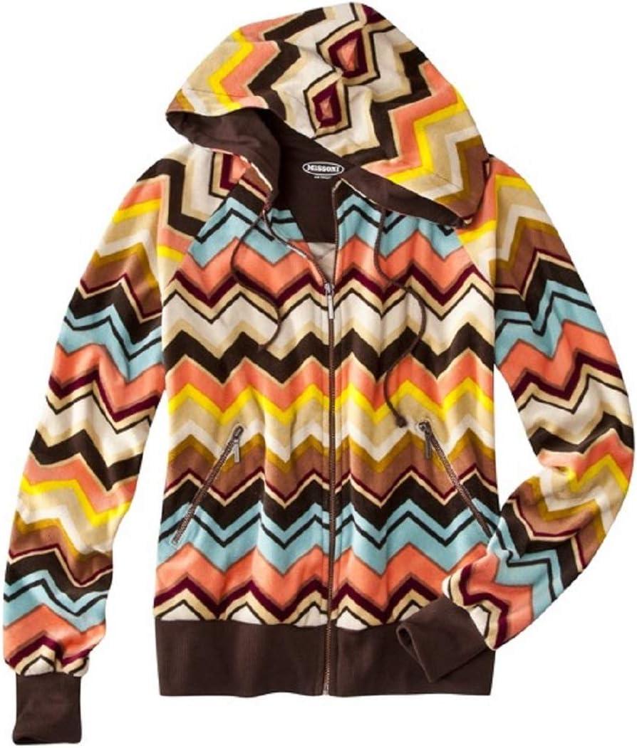 MISSONI FOR TARGET Girls Chevron ZigZag Hoodie Sweater Cardigan Zip Up NEW SMALL