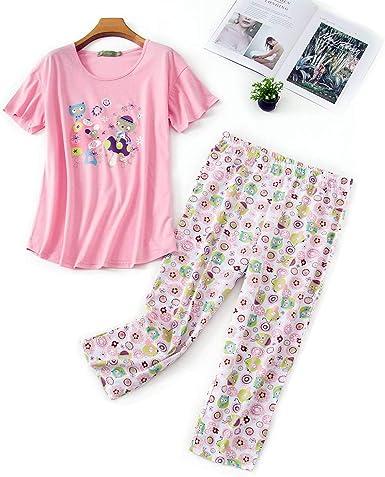 Misscoo Juego de Pijamas para Mujer sin Mangas Pantalones Capri para Mujeres niñas Estudiantes algodón Primavera y Verano Pijamas para Dormir