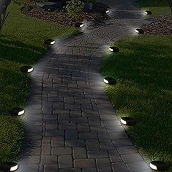 GYBYB Exterior impermeable LED jardín solar piedra luces luz blanca calle lámpara para césped camino cuadrado valla paisaje @ 4 piezas: Amazon.es: Iluminación