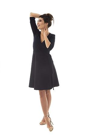 2e92b9cf5a6 Women s Elegant Modest Faux Wrap V-Neck Dress 3 4 Sleeve Belted Semi Formal