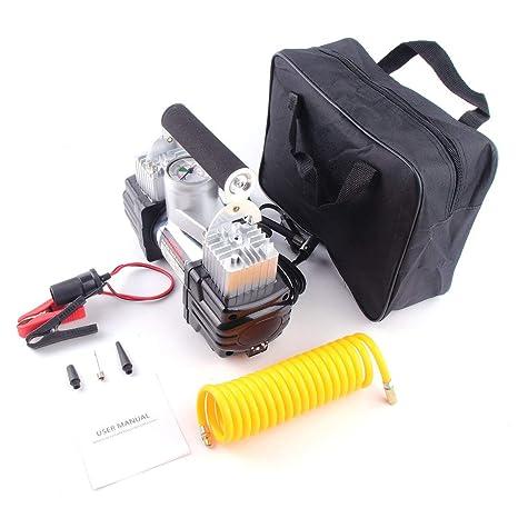 Laurelmartina Compresor de Aire de tamaño portátil de 12 V Neumáticos Neumáticos de Acero Inoxidable Inflador