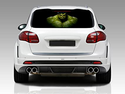 The incredible hulk car rear window decal see through sticker truck suv van 110