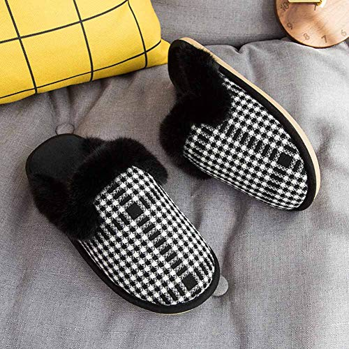Women's Sole Memory Skid Soft House Knit Shoes Faux w White Anti Slippers Foam Fur Collar 1x1Hrqaw