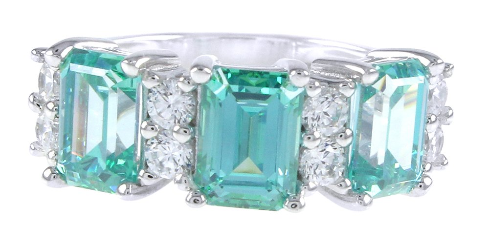 Simulated Blue Green Tourmaline & White Cubic Zirconia Three Stone Engagement Ring in Sterling Silver (4.75 Ct)