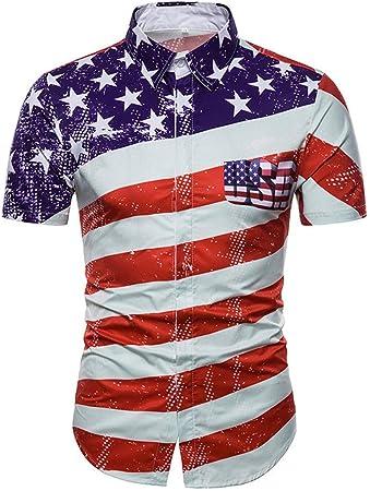 Las camisas delgadas ocasionales de los hombres, Camisa hawaiana de manga corta para hombre Camisa a