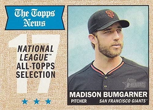 San Francisco Giants 2017 Topps Heritage Series Basic 12 Card Team Set with Madison Bumgarner and Buster Posey Plus