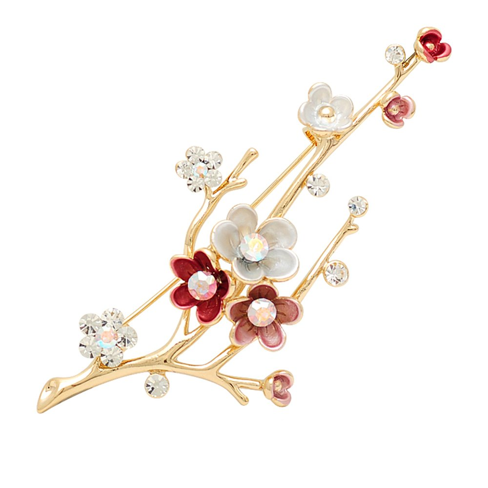 Rainie Love Tree   Flower Shape Alloy Rhinestone Brooch Brooches Pins for  Women Dress Scarf Brooch Pins Vintage Style Accessories(Pink  Champagne Green) 72773861be74