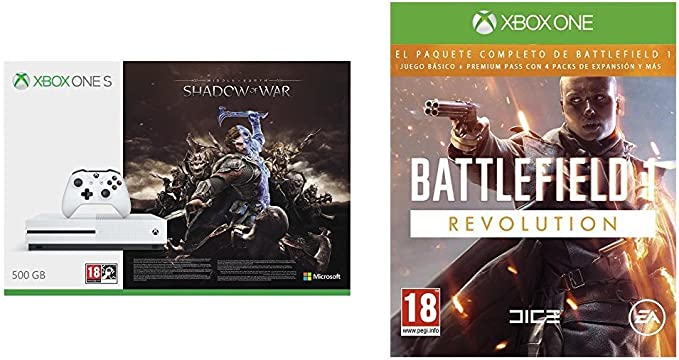 Xbox One S - Consola 500 GB + Sombras De Guerra + Game Pass (1M) + Battlefield 1 - Edición Revolution: Amazon.es: Videojuegos