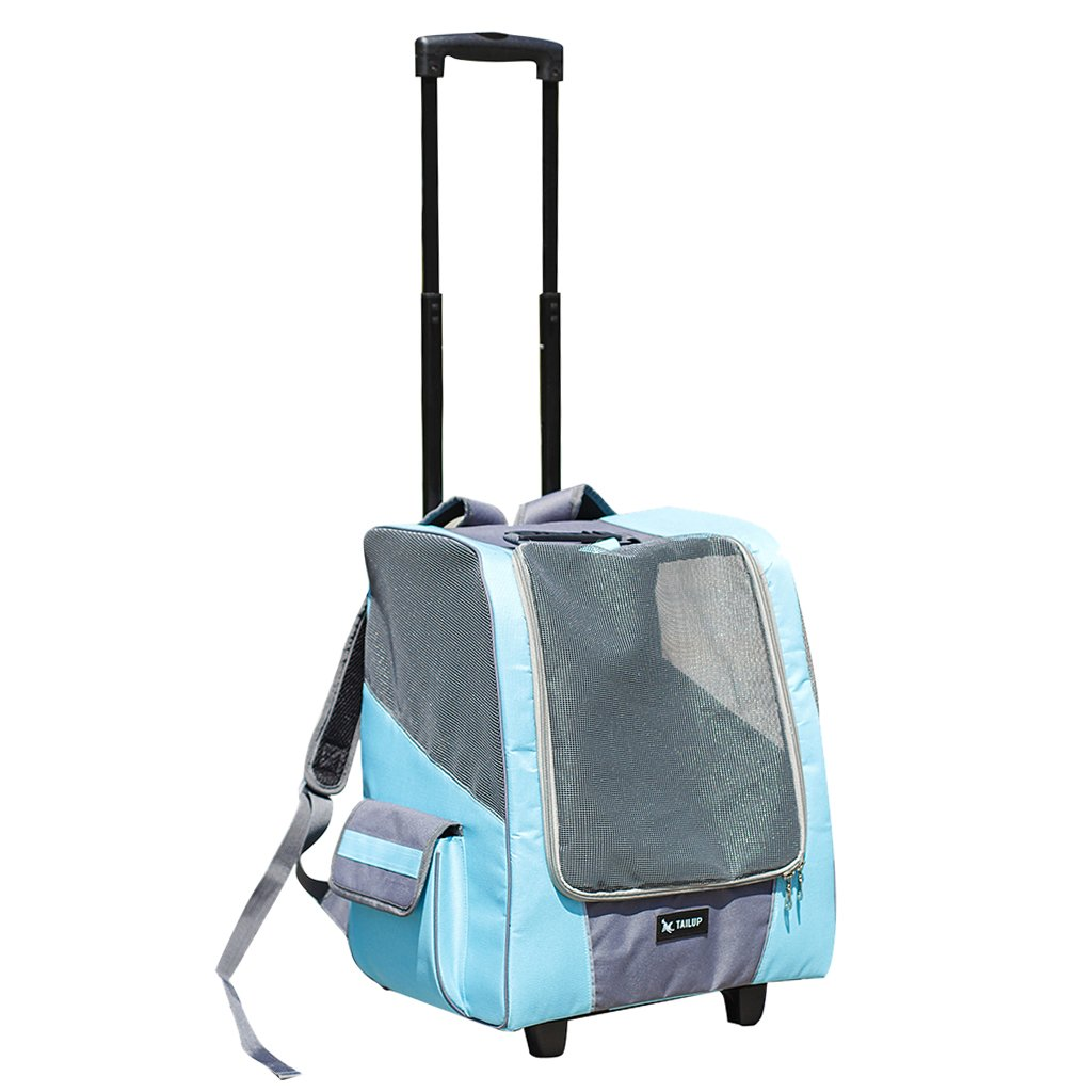 bluee Sharplace Detachable Pet Trolley Stroller Cat Large Big Medium Dog Carrier Wheeled Travel Cart Shoulder Bag bluee