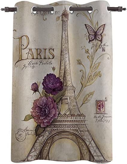 Chic D Window Curtains Drapes Panels, 96 Inch Long, Window Treatments for Bedroom Kitchen Living Room, Vintage Floral Paris,52 Wide Grommet Thermal Insulated Darkening Curtain, Eiffel Tower