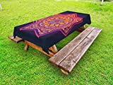 Ambesonne Lotus Outdoor Tablecloth, Ornamental Vibrant Mandala Universe Kaleidoscope Folk Tribal Meditation Illustration, Decorative Washable Picnic Table Cloth, 58 X 84 inches, Multicolor