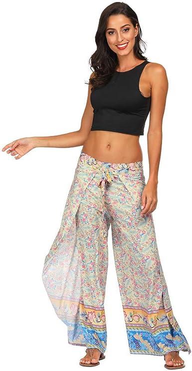 RISTHY Bohemia Pantalones Anchos Mujeres con Aberturas