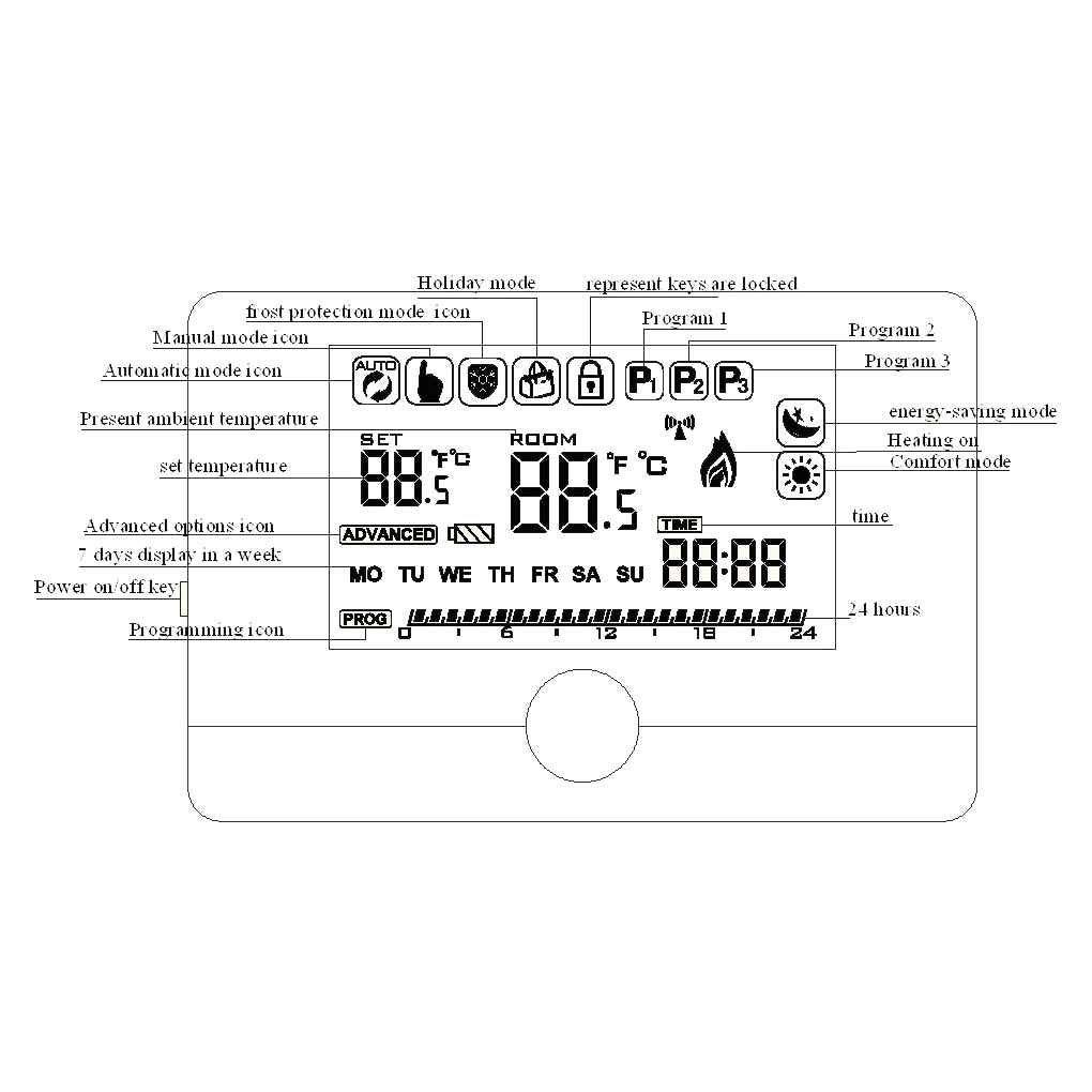 Pantalla LCD Term/óstato de la caldera de gas empotrable semanal Habitaci/ón programable Termostato de calefacci/ón Controlador de temperatura digital Regard