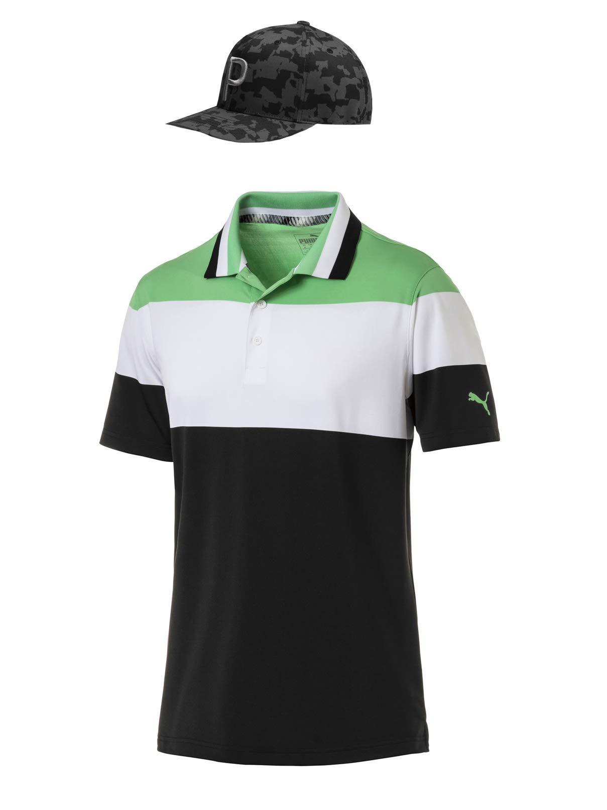 Rickie Fowler Masters Puma Golf Polo & Hat Bundle (2019)   Nineties Polo & P 110 Snapback ((Irish Green/Black Camo, Medium))