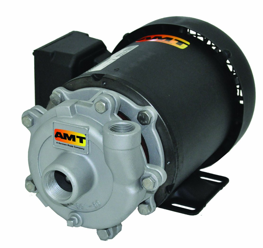 AMT Pump 369C-95 Straight Centrifugal Pump, Cast Iron, 1 HP, 1 Phase, 115/230V, Curve F, 1-1/4'' NPT Female Suction, 1'' NPT Female Discharge Port