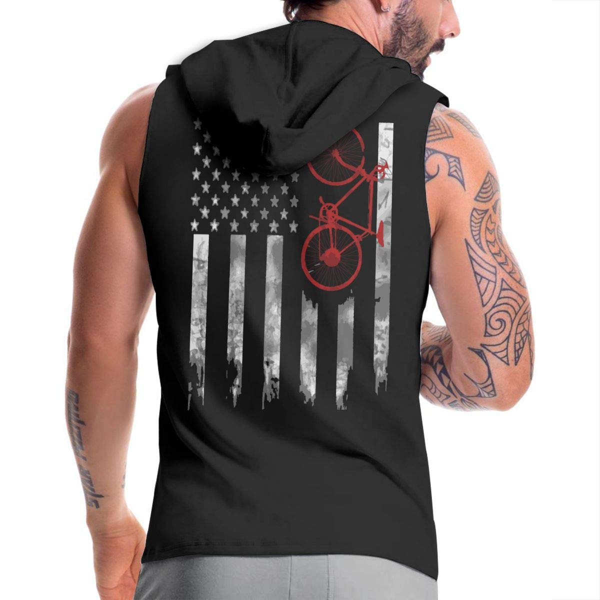 Bicycle Flag Mens Sleeveless Zipper Hooded Sweater Bodybuilding Tank Top