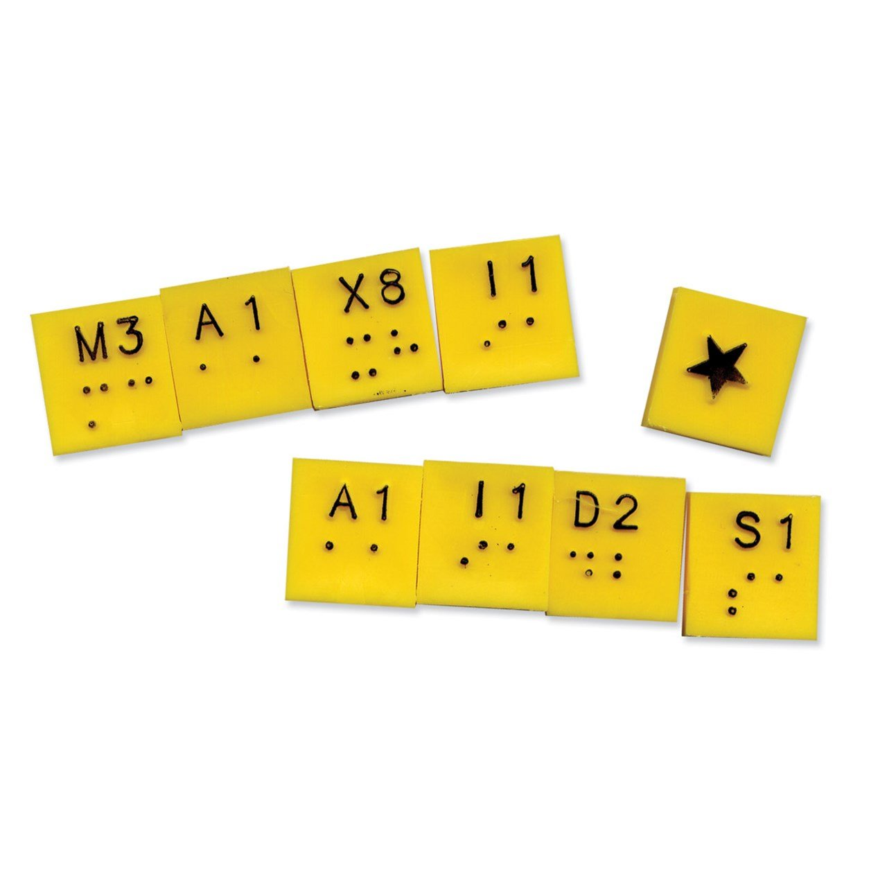 Extra Yellow Tiles - Braille Scrabble- Bag of 100