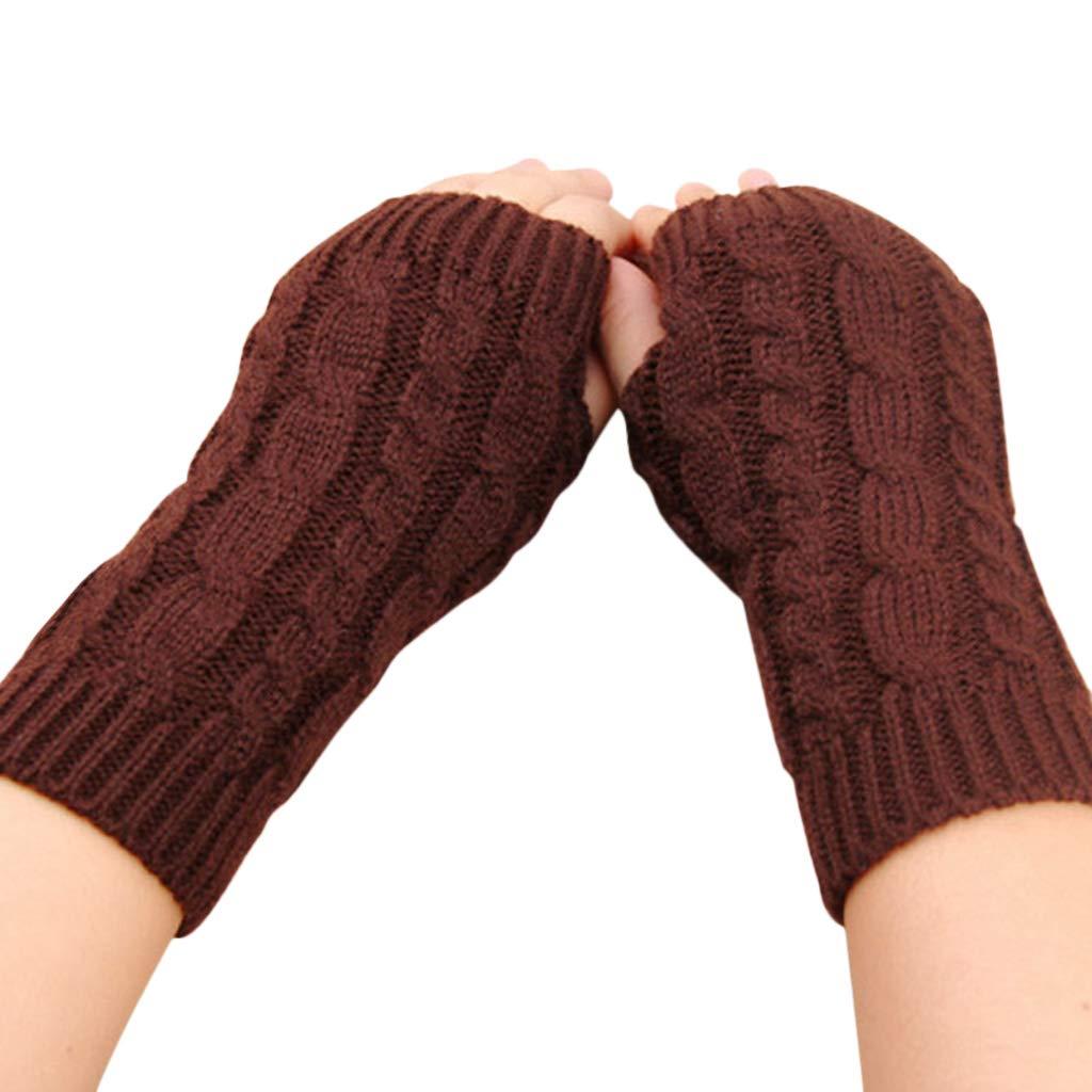 Nankod donna invernale a maglia braccio manica guanti intrecciato treccia solido senza dita Mittens New, Light Grey