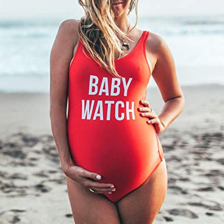 a44519f6c0 Amazon.com: Ridkodg Women Plus Size Letter Print Swimsuit Baby Watch One  Piece Swimwear for Pregnant: Sports & Outdoors