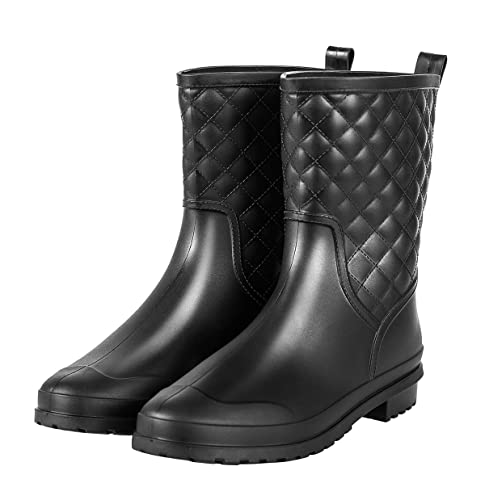 43b58450cbb Chorade Womens Black Mid Calf Rain Boots Outdoor Work Waterproof Garden  Booties Wide Calf Rain Shoes