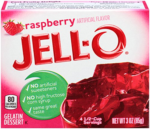 Jell-O Raspberry Gelatin Mix 3 Ounce Box (Pack of 6)