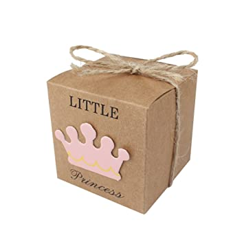10 cajas de regalo de papel kraft para dulces, decoraciones de baby shower, regalos