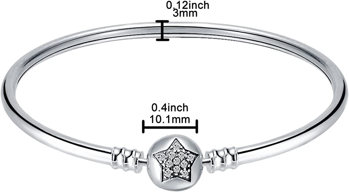CHANGLEABLE 925 Sterling Silver Bangle Bracelet for Charms 17CM 21CM 19CM