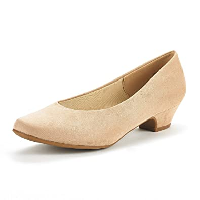 685f3c2b926 DREAM PAIRS Women s Mila Nude Suede Low Chunky Heel Pump Shoes Size 5 M US