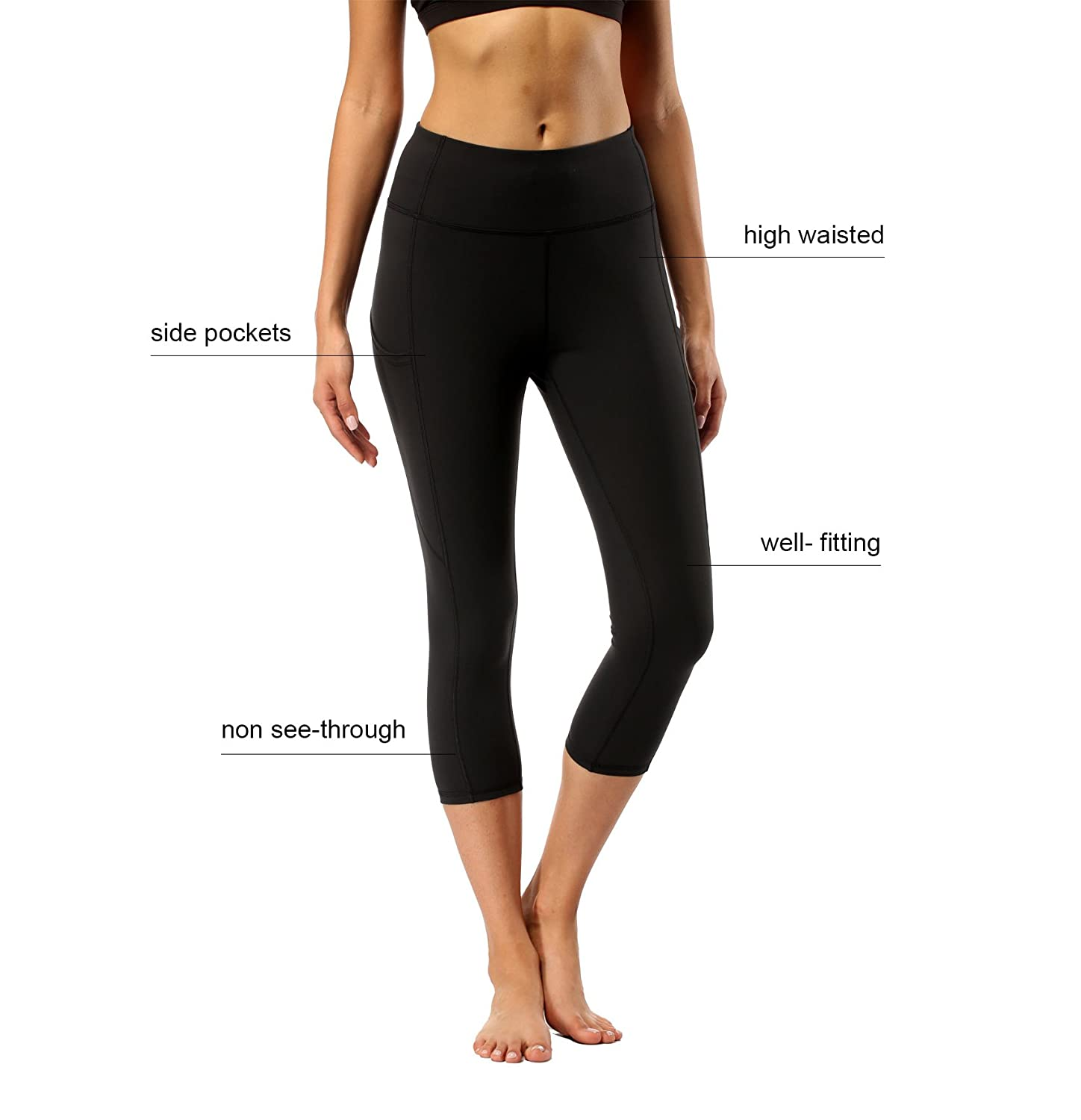 8ac405b345a75 Amazon.com: Womens High Waisted Yoga Pants - Olacia Black Workout Leggings  Athletic Capris 4-Way Stretch Tummy Control Running Pants with Pockets  Small: ...