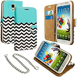 Accessory Planet(TM) Mint Green Zebra Wallet Leather Pouch Case Cover with Credit Card Slots Holder Accessory for Samsung Galaxy S4