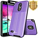 LG Stylo 3 Plus Case, LG Stylo 3 Case with [Full Coverage Tempered Glass Screen Protector], NageBee [Brushed] Heavy Duty Defender Dual Layer Protector Case For LG LS777/TP450 (Purple)